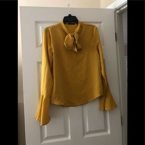 Yellow Bell Sleeve Tie Neck Blouse